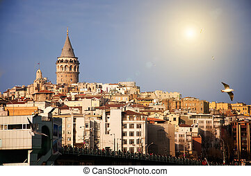 Galata Tower -  Galata Tower and a bridge in Istanbul