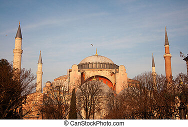 Hagia Sophia in Istanbul against the blue sky