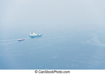 Two cargo ship on the blue sea