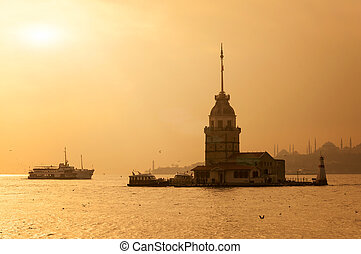 maiden tower silhouette on sunset background