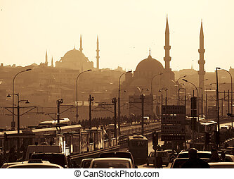Mosques silhouettes against the yellow sky