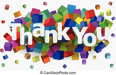 cube thankyou - illustration of thank you text with colorful...