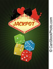 jackpot - illustration of jackpot casino with colorful dice