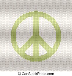 Knitted Peace Sign - Knitted peace sign pattern.