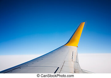 wing - white wing aircraft on blue sky background