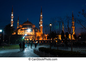 Sultan Ahmed Mosque in Istanbul against the blue sky