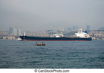 Bosphorus - big ship sails on the Bosphorus