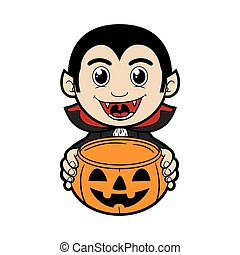 Dracula Costume - Kid wearing Halloween costume holding...