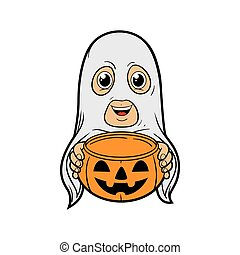 Ghost Costume - Kid wearing Halloween costume holding...