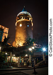 Galata Tower in Istanbul night