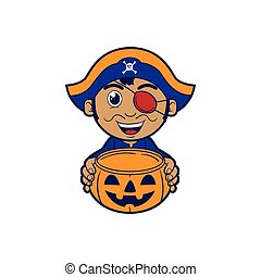 Pirate Costume - Kid wearing Halloween costume holding...