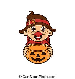 Witch Costume - Kid wearing Halloween costume holding...
