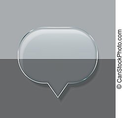 Vector modern glass bubble speech on sample background.