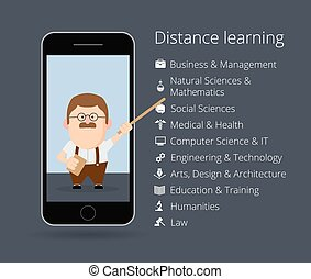 distance learning. Professor in mobile phone. List of academic disciplines. Business and management, natural sciences and mathematics, social, medical, health, computer, IT, engineering