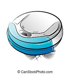 Blue robotic vacuum cleaner - Drawing of the blue robotic...