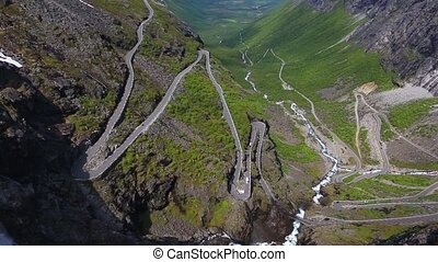 Trollstigen - aerial view of world famous mountain road...
