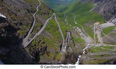 Trollstigen - aerial view of world famous mountain road...