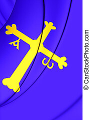 Principality of Asturias Flag, Spain. - 3D Principality of...