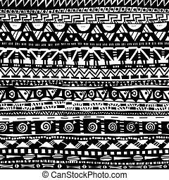 primitive folk geometric black and white seamless pattern