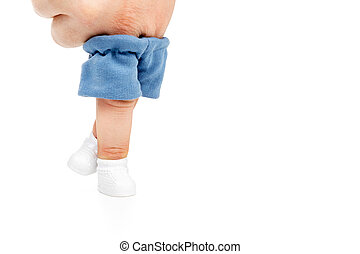 Hand standing with fingers - Two finger dressed in shorts...