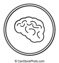 Brain icon. Internet button on white background.