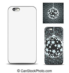 Realistic Phone cover. Blank template for design. Snowflake...
