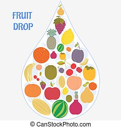 Flat fruit icons collected in the form of a drop.