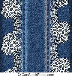 Denim and lace Background with lace ribbons sewn vertically...