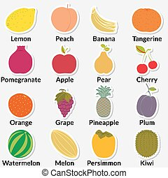Flat fruit icons gathered in a circle inscribed with names...