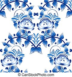 Beautiful seamless pattern with blue flowers gzhel style -...