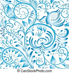 Seamless floral pattern Blue painted in gzhel style with...