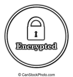 Encrypted icon Internet button on white background