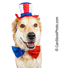 Happy Independence Day Large Dog - Happy and smiling Golden...