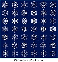 Set of beautiful white snowflakes