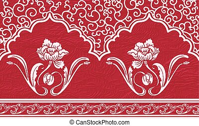Repeating pattern with motifs of Chinese painting. White ornament and flowers on a red textured background.