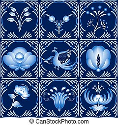 Set of elements in gzhel style as a dark blue ceramic tile...