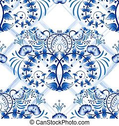 Seamless blue floral pattern with lattice strips of...