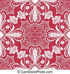 Seamless pattern Beautiful silhouettes interwoven flowers...