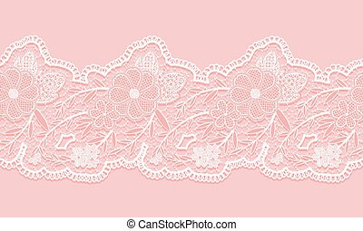 White and pink seamless lacy ribbon on pink background...