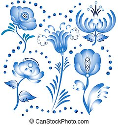 Set of blue floral elements for design in the style of Gzhel.