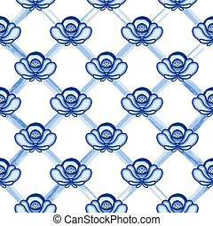 Seamless pattern in style Gzhel. A lattice from blue...