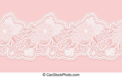 White and pink seamless lace tape on pink background. Floral...