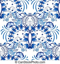 Seamless pattern based on porcelain painting gzhel style. Ornament in the national style. Blue flower painting on a white background.