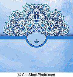Template greeting card or invitation with a blue watercolor...