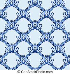 Lattice from blue flowers and leaves A seamless pattern in...