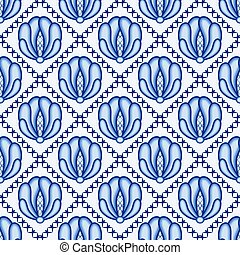 Continuous flower pattern in style Gzhel. Lattice and large...