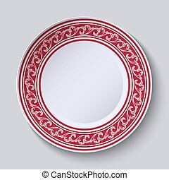 The circular red pattern with empty space in the center. White porcelain plate with a picture in the style of oriental paintings.