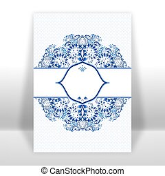Template design greeting card with a blue circular ornaments...