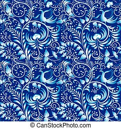 Flower seamless pattern with elements of folk gzhel style or...