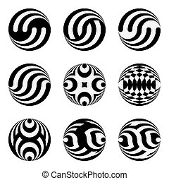 Set of monochrome black and white design elements for the...
